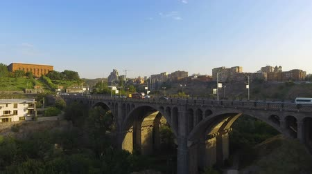 armenia : Busy traffic on ancient Victory Bridge in heart of Yerevan, river Hrazdan