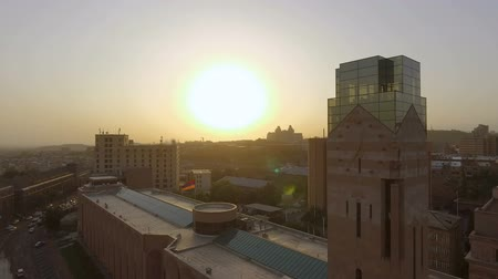 embassy : Aerial view of City Hall, lawmaking body of Yerevan city during magic hour Stock Footage