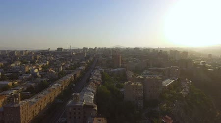armenia : Beautiful streets and buildings of Yerevan on sunny day, aerial view, traveling