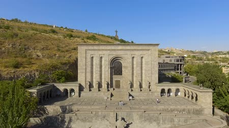 хранилище : Beautiful aerial view of Mesrop Mashtots institute of ancient manuscripts, tour
