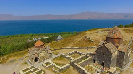 armenia : Quadcopter flying over old Sevanavank monastery complex, tourism in Armenia