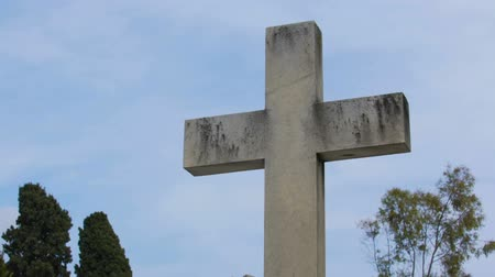 symbol of respect : Chateau Cemetery in Nice, France, old stone crosses and monuments sequence