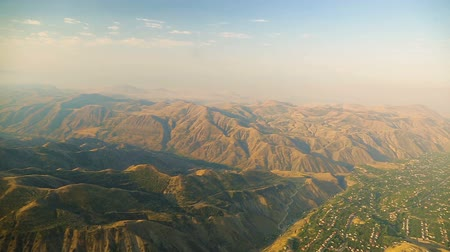 плато : Magnificent aerial view of Armenian highlands and valley, blurred cloudy horizon