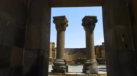 archeological : Entrance to Armenian Temple Zvartnots, Celestial Angels. Stock Footage