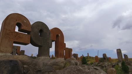 резной : Armenian Alphabet Monument, giant stone letters, national pride, sequence Стоковые видеозаписи