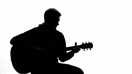 acoustic : Talented musician playing guitar at audition, performing song, entertainment
