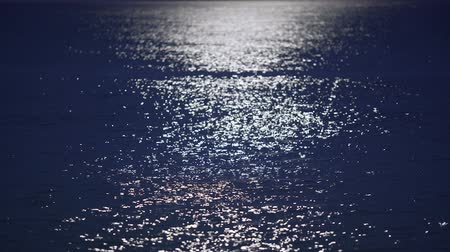 doğa arka plan : Beautiful romantic moon glade shimmering on dark water surface, night seascape Stok Video