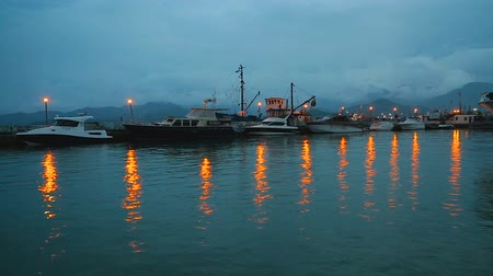 dizi : Motor boats docked near pier illuminated by night lights reflecting in water