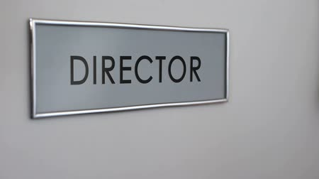 knocking : Director office door, manager hand knocking closeup, business company leader