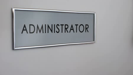 byrokracie : Administrator office door, worker hand knocking, corporate ethics, bureaucracy