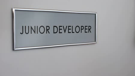 kopogás : Junior developer office door, hand knocking, software supervisor, it industry