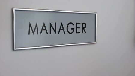 bater : Manager office door, hand knocking closeup customer support department, business Stock Footage