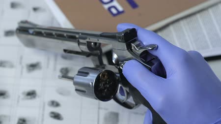 yargı : Forensic scientist checking killer gun caliber, crime research investigation