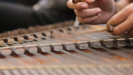 hammered : Musician hands playing dulcimer instrument at rehearsal, traditional folk music