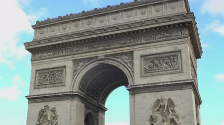 arch of triumph : National French symbol Arc de Triomphe against blue sky background.