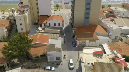 kıbrıs : Nice aerial view of Larnaca town with local market and residential houses