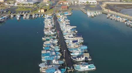 kıbrıs : Aerial view of beautiful yachts and boats moored in Larnaca marina, Cyprus