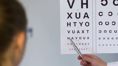 complaints : Ophthalmologist checking female patient eyesight.