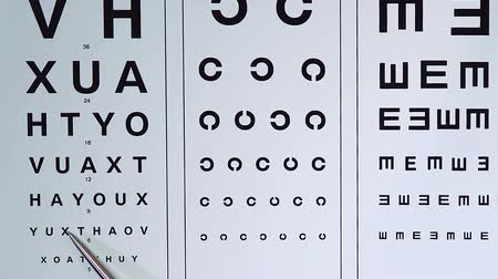 list : Oculist checking patients visual quality and entering data into medical record