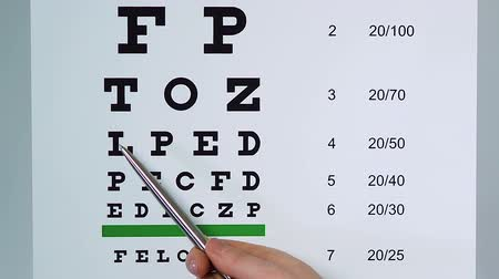 подчеркнул : Doctor examining patient sight pointing at medical table with underlined letters Стоковые видеозаписи