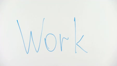 jobless : Crossed out work word written on glass, unemployment problem, low salaries Stock Footage