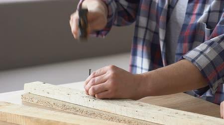 lumber : Man hammering nail, DIY repairing furniture, guy hobby, leisure time, close up