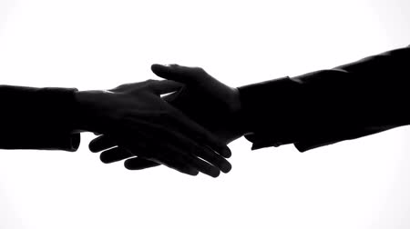 занятость : Man and woman shaking hands, business deal, work cooperation, unity symbol