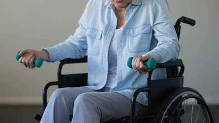 inwalida : Mature lady sitting in wheelchair and trying to lift dumbbells, rehabilitation