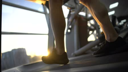 太らせる : Sportsman legs walking on treadmill, sunset training after work, stress relief