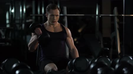biceps curls : Handsome bodybuilder doing seated alternated biceps curl, training for summer Stock Footage