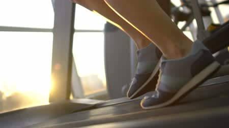собственность : Female legs running on treadmill machine in sunlight gym, purposeful woman, goal