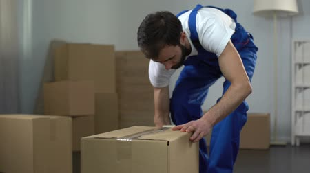 coisas : Moving company worker carefully packing and carrying boxes, quality services