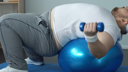 fraco : Chubby bachelor making arms exercises dumbbells lying on ball, burning calories Vídeos