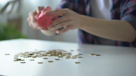centavo : Student pouring out coins from piggy bank, collecting money for vacation trip