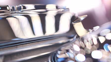 car designer : Steel component of car or motorbike, manufacturing of mechanism parts, closeup Stock Footage