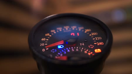 tachometer : Designer illuminated speedometer on exhibition, speed and safety on roads