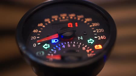 odometer : Designer speedometer with flashing arrows, safe driving concept, no overspeed Stock Footage