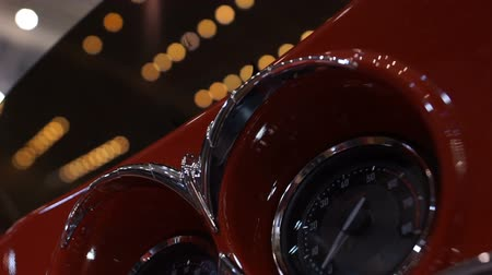 tachometer : Bright vintage speedometers on retro motorcycle, beautiful design tuning closeup