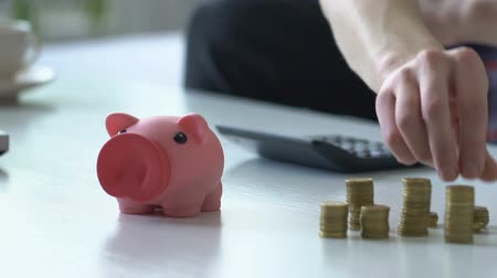 cent : Young man counting family budget, putting money into piggy bank, close up Stock Footage