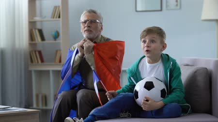 conveniência : Grandpa waving French flags together with grandson, watching football at home Vídeos
