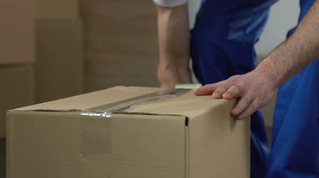 camionagem : Moving service worker packing and taking out box.