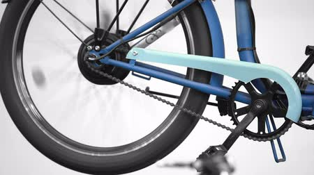 elektro : Electric bicycle wheel rotating, innovation exhibition, eco friendly transport Stok Video