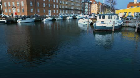 copenhagen : Ancient architecture with waving flag in Copenhagen harbor, Scandinavian tourism