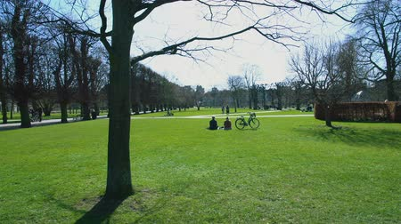 copenaghen : Copenhagen city park on sunny day, people on vacation relaxing on green grass