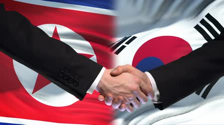 saygı : North Korea and South Korea handshake, international friendship, flag background