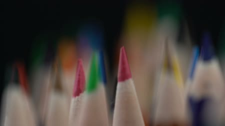 extreme close up : Sharpened color pencils assortment, art and education, individuality, creation