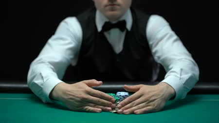 unlucky : Croupier taking all win away from casino player, misfortune and bankruptcy