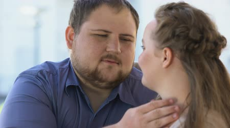 datas : Male stroking girlfriends face, couple affection, feelings expression. Stock Footage