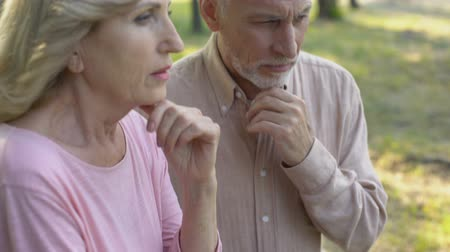 deterioration : Old couple thinking over age-related health problems, low social protection Stock Footage