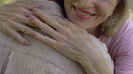 sentiment : Old woman hugging man, trusting relationship, family couple support and love Stock Footage